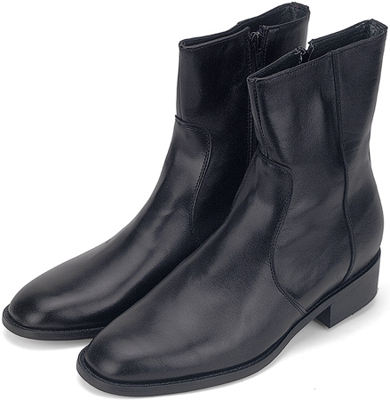 Black Kidskin Zipper Boot