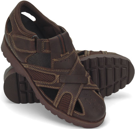 Brown Leather & Mesh Sandal